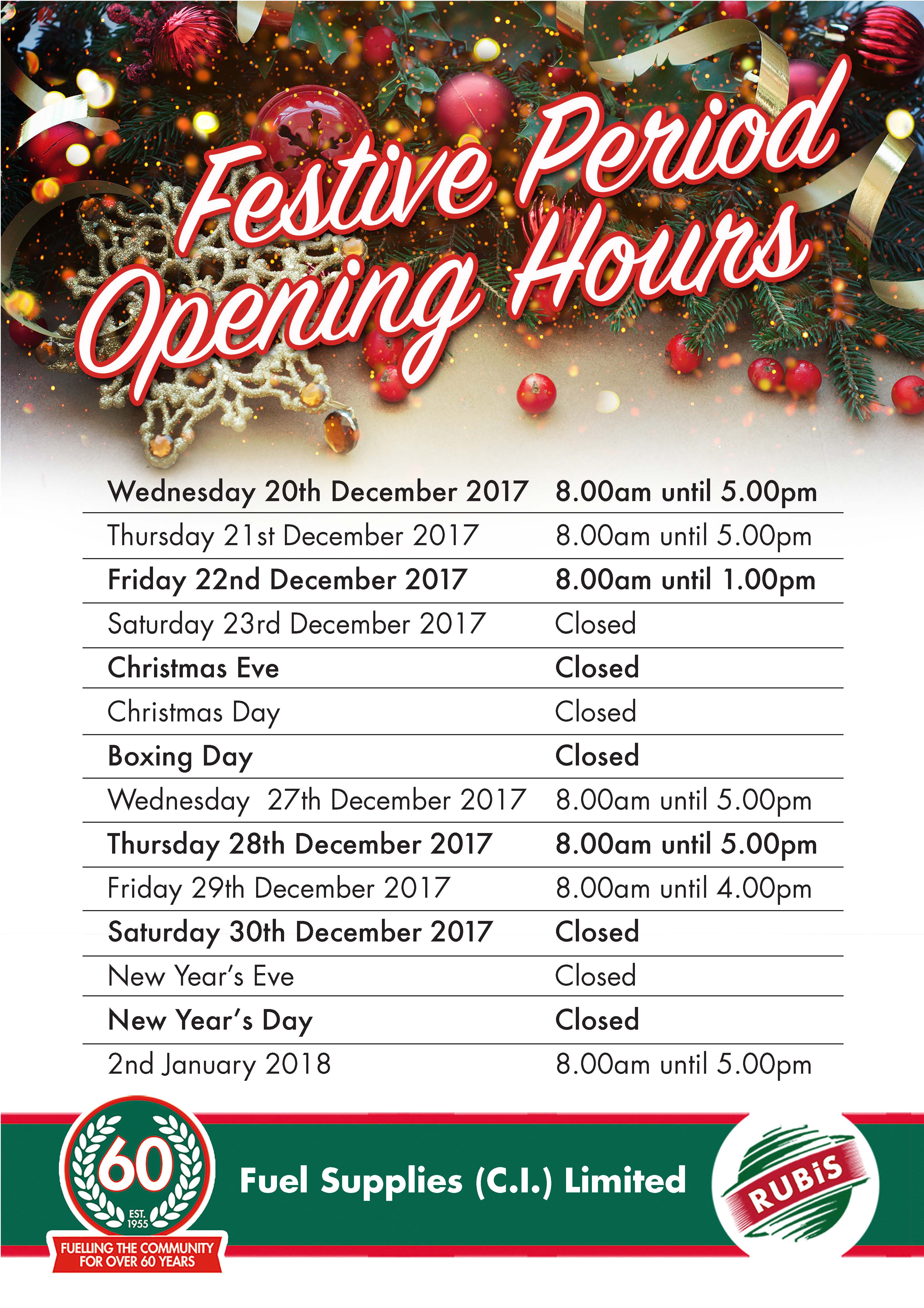 Festive Period Opening Hours | Rubis Channel Islands